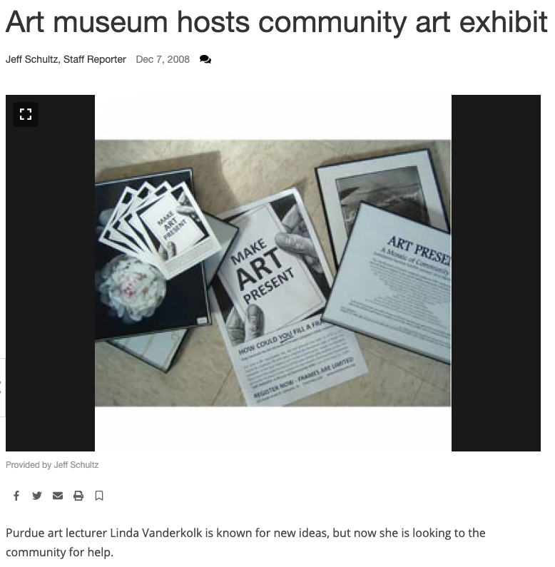 "Press photo from the Purdue newspaper about the ""Art Present"" show."