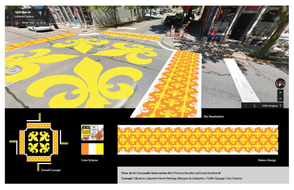 the yellow, white, and orange Fleur-de-lis pattern over-layed on a google street image of the intersection. At teh bottom is a birds eye view of the whole thing, the three color swatches and